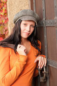 Autumn portrait of beautiful young female model — Stock Photo