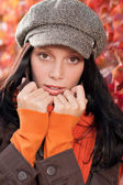 Autumn portrait cute female model face close-up — Stock Photo