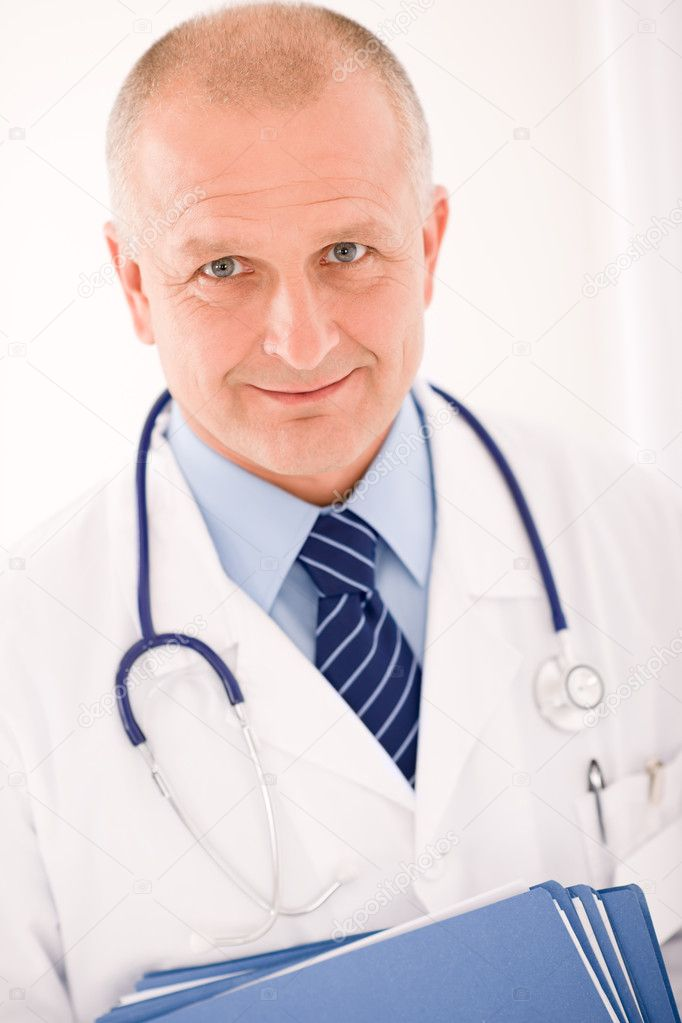 Professional senior doctor male with stethoscope portrait with document folders  Stock Photo #7609556