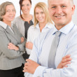 Stock Photo: Business team senior manager with happy colleagues