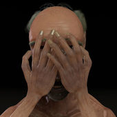 Boldy men crying and cover sad face — Stock Photo