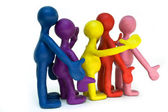 Group of plasticine puppets on white background — Stock Photo