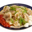 Russian dumplings with meat — Stok fotoğraf