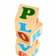 Alphabet wood blocks forming the word love — Stock Photo