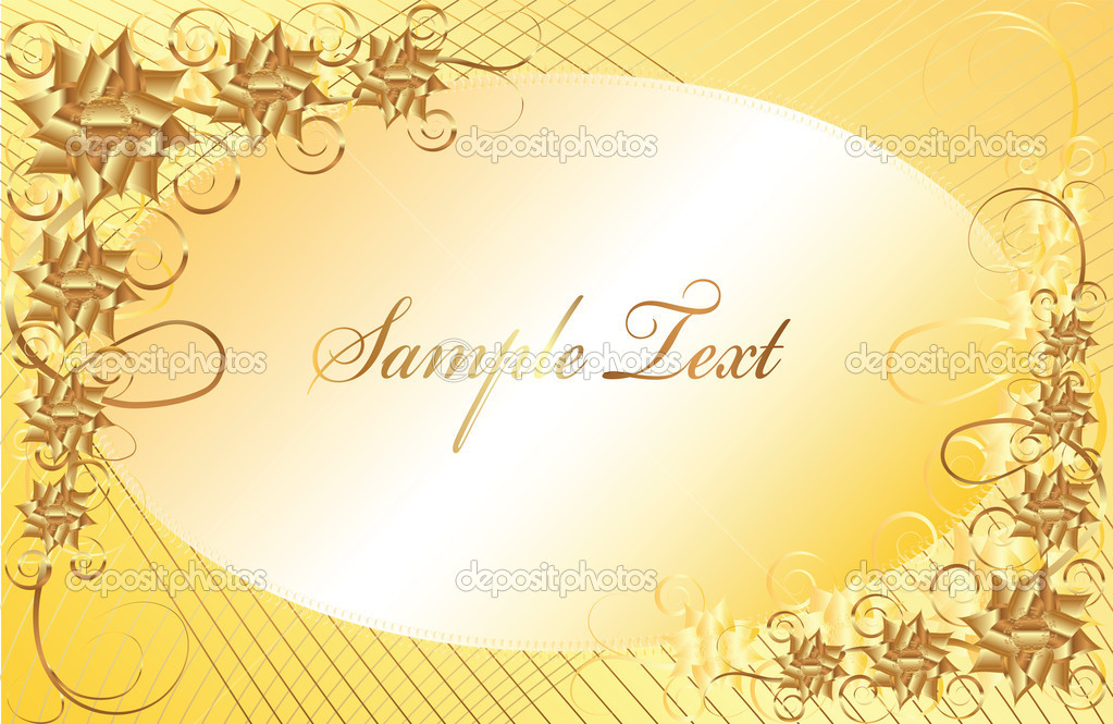 Frame made ??with gold flowers on a gold background  Stock Vector #6963251