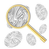 Magnifying glass and fingerprint — Stock Vector