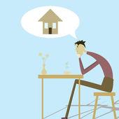 En person i behov av bostäder — Stockvektor
