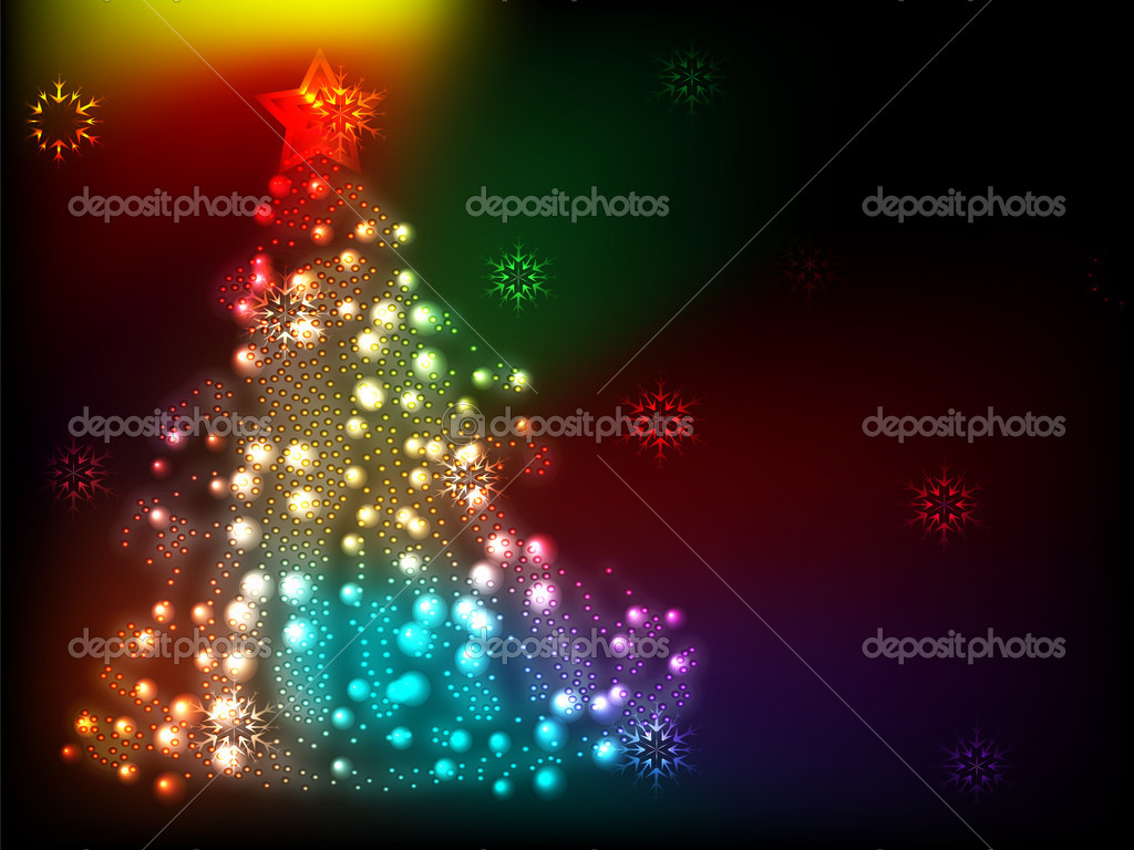 Bright colorful Christmas background with Christmas tree shining (eps 10) — Stock Vector #7797618