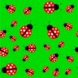 Seamless background with a ladybug — Imagen vectorial