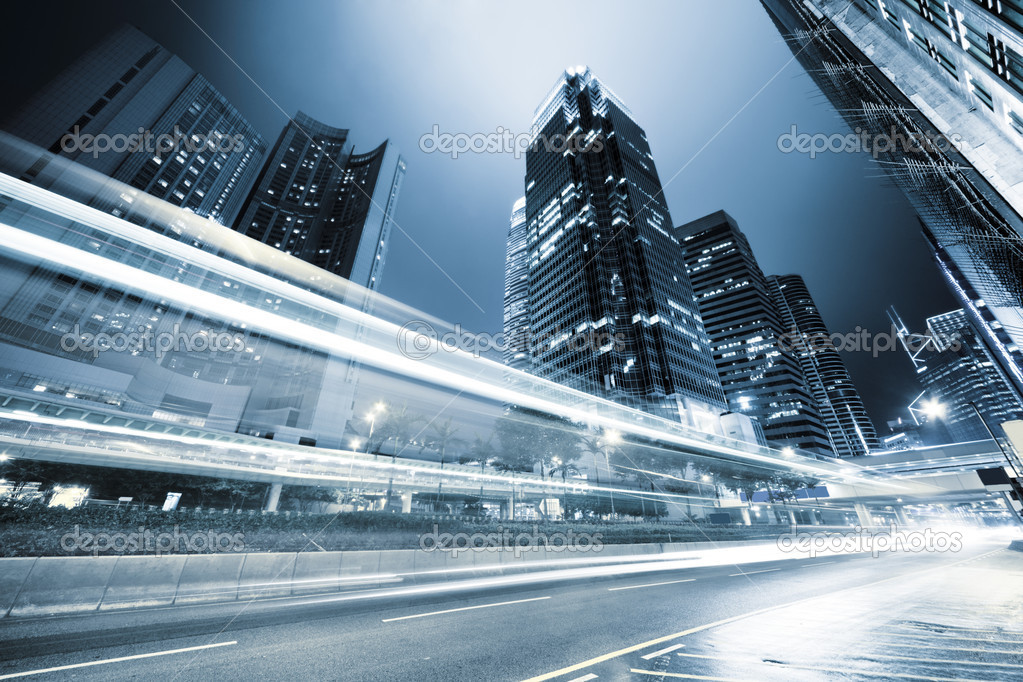 Traffic in Hong Kong at night — Stock Photo #6973968