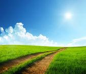 地面道路和阳光灿烂的日子 — 图库照片