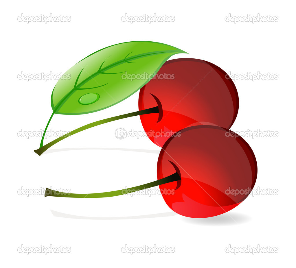 Shiny nature red cherry and green leafs symbol — Stock Vector #6888361