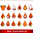 Creative medic blood drops symbols set - Stock Vector
