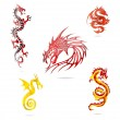 Asia colored dragons sign set isolated — Stock Vector