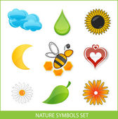 Nature eco symbols set green color — Stock Vector