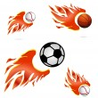 Creative sport fly and fire balls set — Stock Vector #7958212