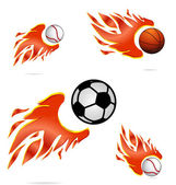 Creative sport fly and fire balls set — Stock Vector