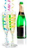 Champagne flutes festive combo — Stock Photo