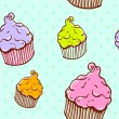 Royalty-Free Stock Vector Image: Cute vintage cupcake seamless texture