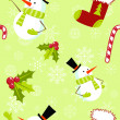 Seamless pattern with cute cartoon Christmas snowman - Stock Vector
