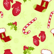 Seamless pattern with cute cartoon Christmas mittens, candy cane, holly ber — Stock Vector #7691534