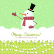 Ornate Christmas card with doodle snowman - Stock Vector