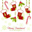 Ornate Christmas card with xmas stocking — Imagen vectorial