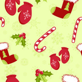 Seamless pattern with cute cartoon Christmas mittens, candy cane, holly ber — Stok Vektör