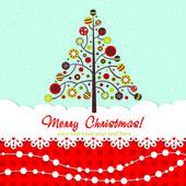 Ornate Christmas card with xmas tree — Stock Vector