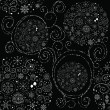 Royalty-Free Stock ベクターイメージ: Line art design Christmas seamless pattern with xmas balls, snowflakes...