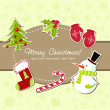 Beautiful Christmas card with xmas stocking, toys holly berries, candy cane - Stock Vector