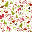 Seamless pattern with cute cartoon Christmas mittens, candy cane,.. — Stock Vector #7812254