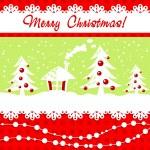 Cartoon Christmas card with fir trees — Stock Vector