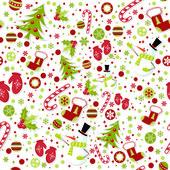 Seamless pattern with cute cartoon Christmas mittens, candy cane,.. — Stock Vector