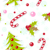 Seamless pattern with cute cartoon Christmas tree — Stock Vector