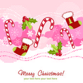 Ornate Christmas card with xmas stocking — Stock Vector