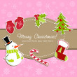 Beautiful Christmas card with xmas stocking, toys holly berries, candy cane — Stock Vector