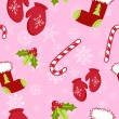 Seamless pattern with cute cartoon Christmas mittens, candy cane, holly ber — Stock Vector
