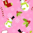 Seamless pattern with cute cartoon Christmas snowman — Stock Vector