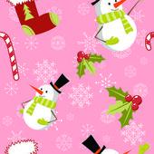 かわいい漫画クリスマス雪だるまのシームレスなパターン — ストックベクタ