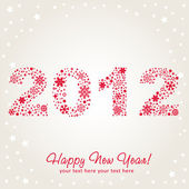 2012 Happy New Year greeting card with snowflakes, stars and glitter. — Stock Vector