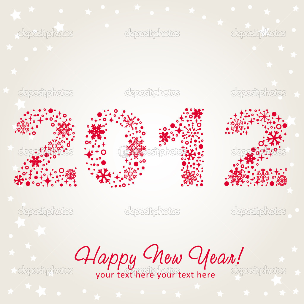 2012 New Year shiny invitation postcard with snowflakes, stars and glitter. Vector illustration — Stock Vector #7937129