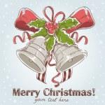 Christmas hand drawn postcard with jingle bells — Stock Vector #7946044