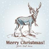 Cute Christmas hand drawn retro postcard with beautiful santa's deer — Stock Vector