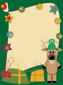 Christmas and New Year card greeting with deer and gifts — Vector de stock