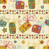 Seamless pattern with gifts and stars — Stock vektor