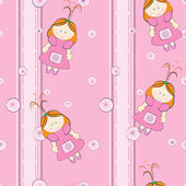Background with cute doll pattern — Stock Vector