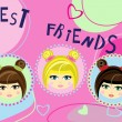 Stock Vector: Three best friends card