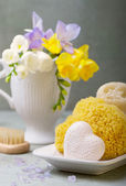 Handmade soap and natural sponges — Stock Photo