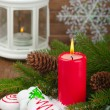 Christmas red candle — Stock Photo